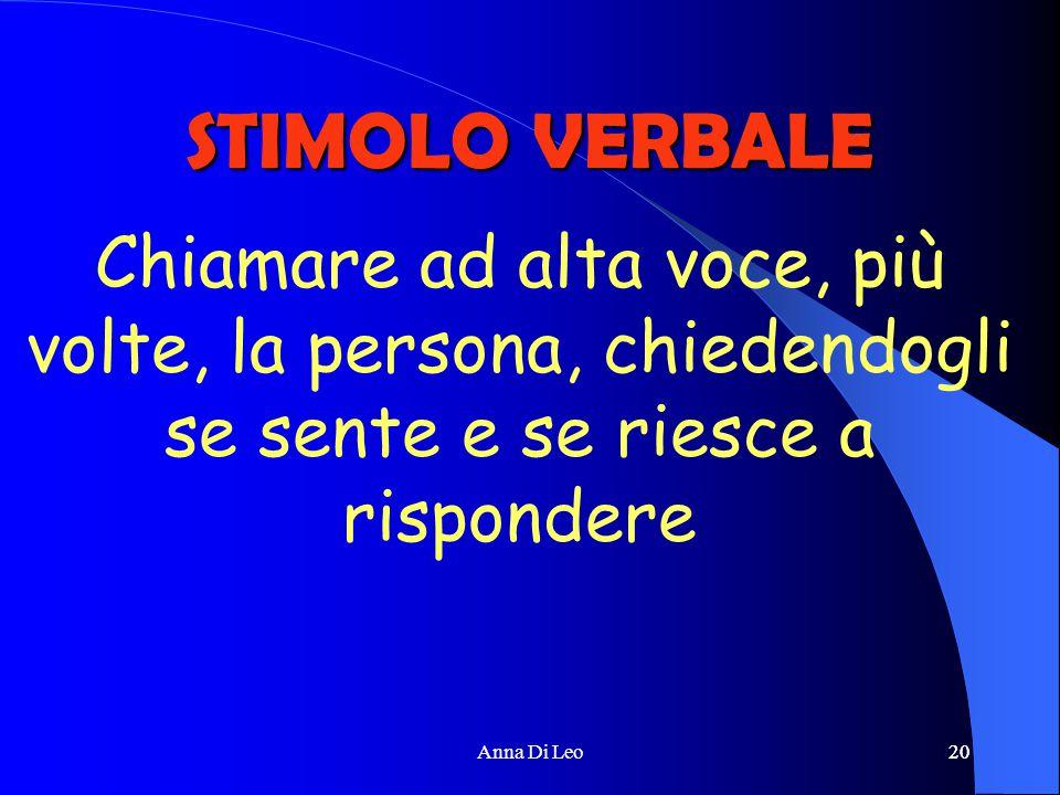 20Anna Di Leo20 STIMOLO VERBALE Chiamare ad alta voce, più volte, la persona, chiedendogli se sente e se riesce a rispondere