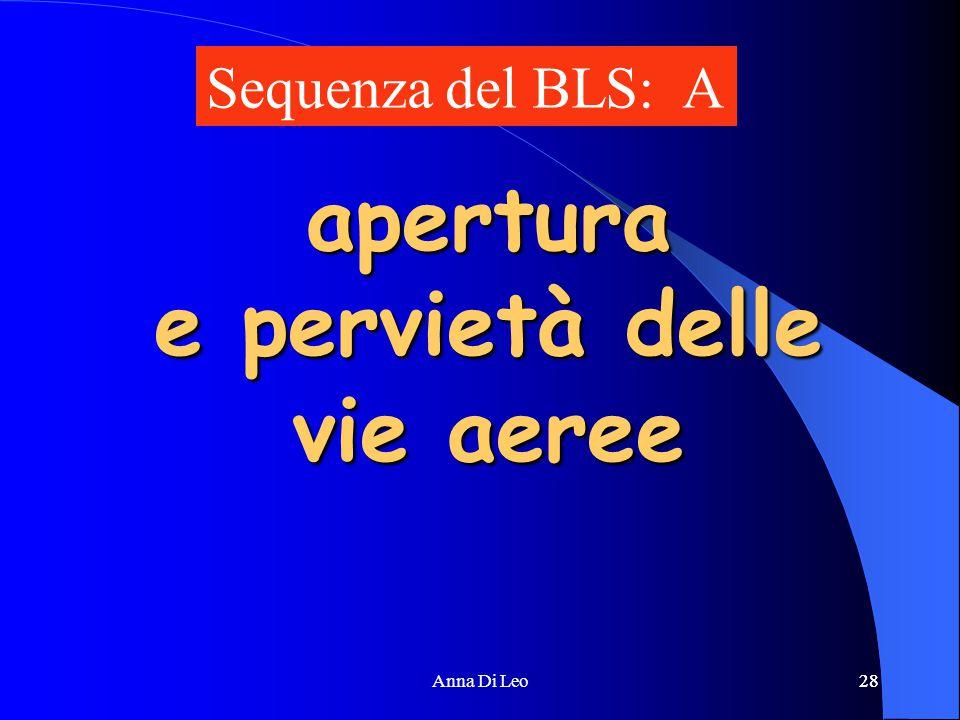 28Anna Di Leo28 apertura e pervietà delle vie aeree Sequenza del BLS: A
