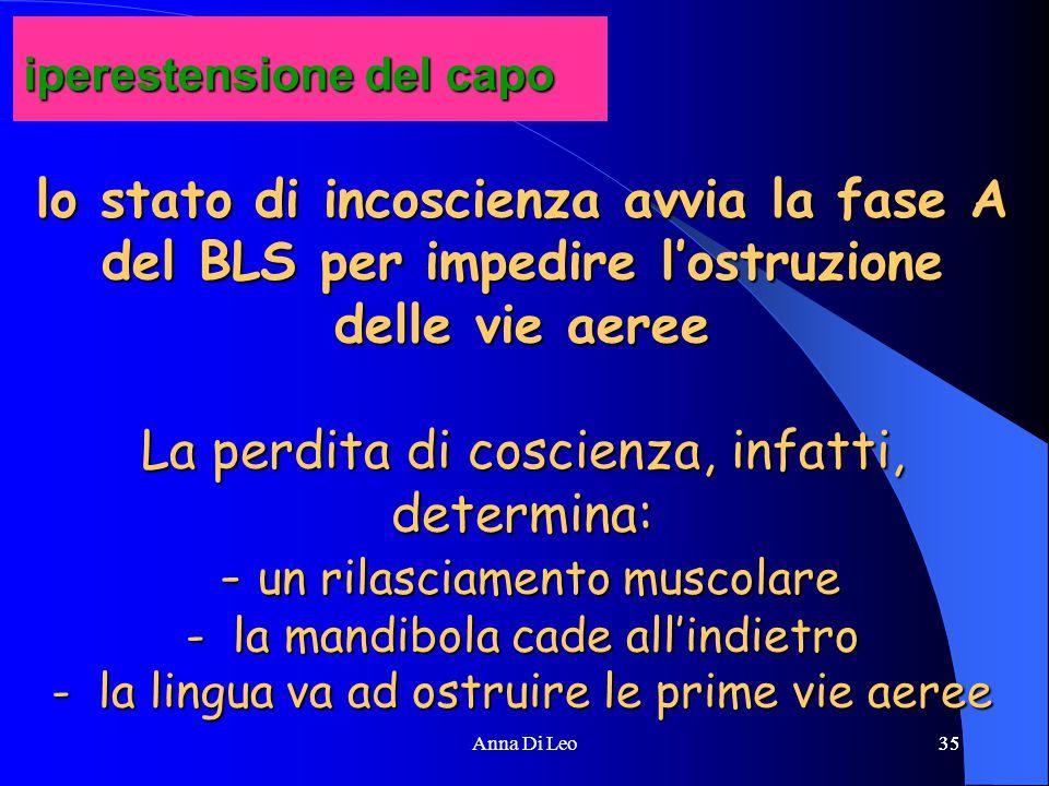 35Anna Di Leo35 lo stato di incoscienza avvia la fase A del BLS per impedire l'ostruzione delle vie aeree La perdita di coscienza, infatti, determina: - un rilasciamento muscolare - la mandibola cade all'indietro - la lingua va ad ostruire le prime vie aeree iperestensione del capo