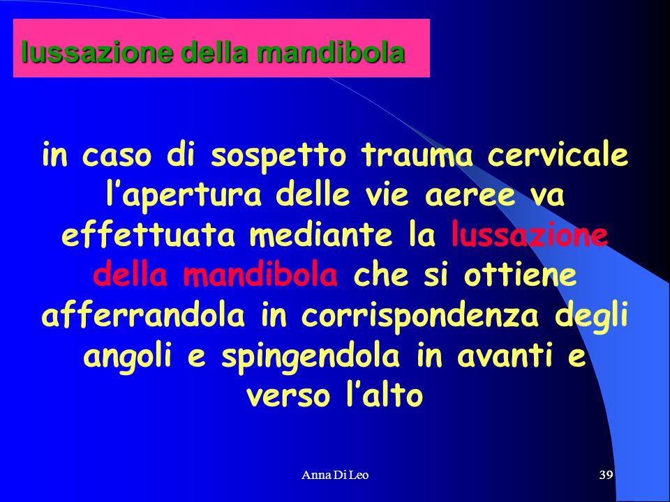 39Anna Di Leo39 in caso di sospetto trauma cervicale l'apertura delle vie aeree va effettuata mediante la lussazione della mandibola che si ottiene afferrandola in corrispondenza degli angoli e spingendola in avanti e verso l'alto lussazione della mandibola