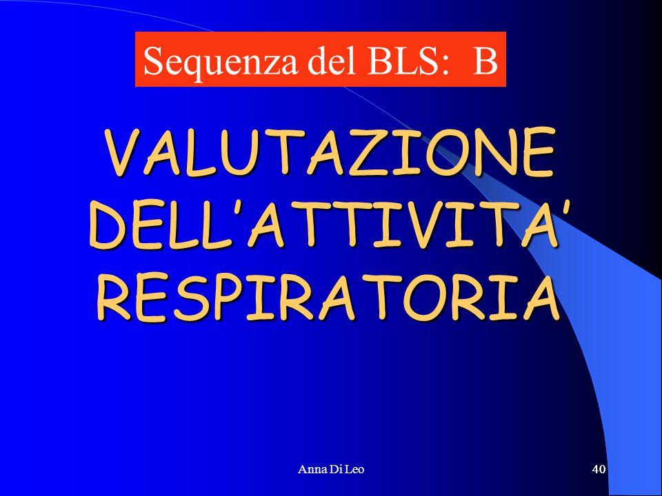 40Anna Di Leo40 VALUTAZIONE DELL'ATTIVITA' RESPIRATORIA Sequenza del BLS: B