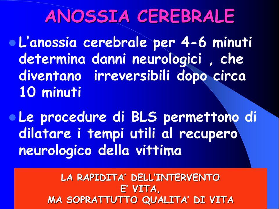 6Anna Di Leo6 ANOSSIA CEREBRALE L'anossia cerebrale per 4-6 minuti determina danni neurologici, che diventano irreversibili dopo circa 10 minuti Le pr