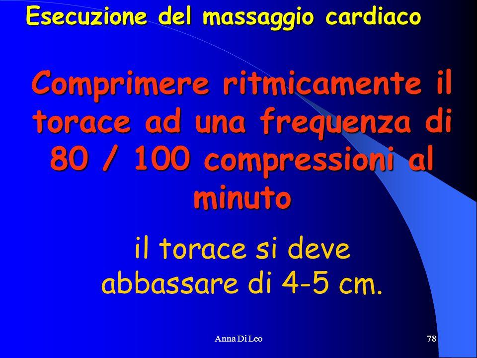 78Anna Di Leo78 Comprimere ritmicamente il torace ad una frequenza di 80 / 100 compressioni al minuto il torace si deve abbassare di 4-5 cm.
