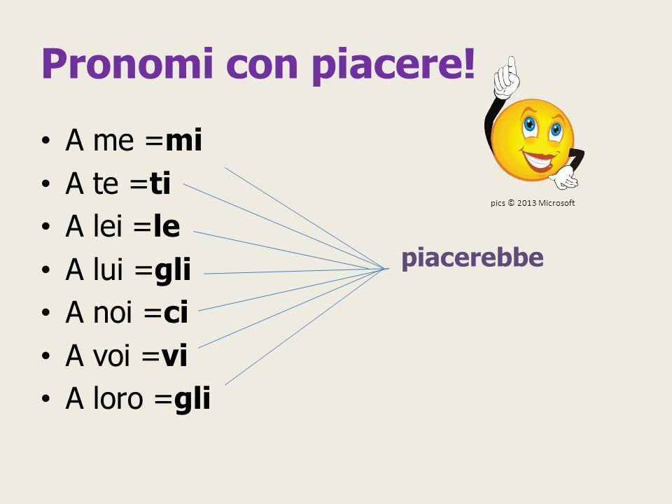 Pronomi con piacere! A me =mi A te =ti A lei =le A lui =gli A noi =ci A voi =vi A loro =gli piacerebbe pics © 2013 Microsoft