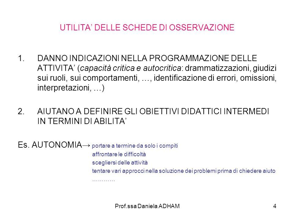 Prof.ssa Daniela ADHAM4 UTILITA' DELLE SCHEDE DI OSSERVAZIONE 1.DANNO INDICAZIONI NELLA PROGRAMMAZIONE DELLE ATTIVITA' (capacità critica e autocritica: drammatizzazioni, giudizi sui ruoli, sui comportamenti, …, identificazione di errori, omissioni, interpretazioni, …) 2.AIUTANO A DEFINIRE GLI OBIETTIVI DIDATTICI INTERMEDI IN TERMINI DI ABILITA' Es.