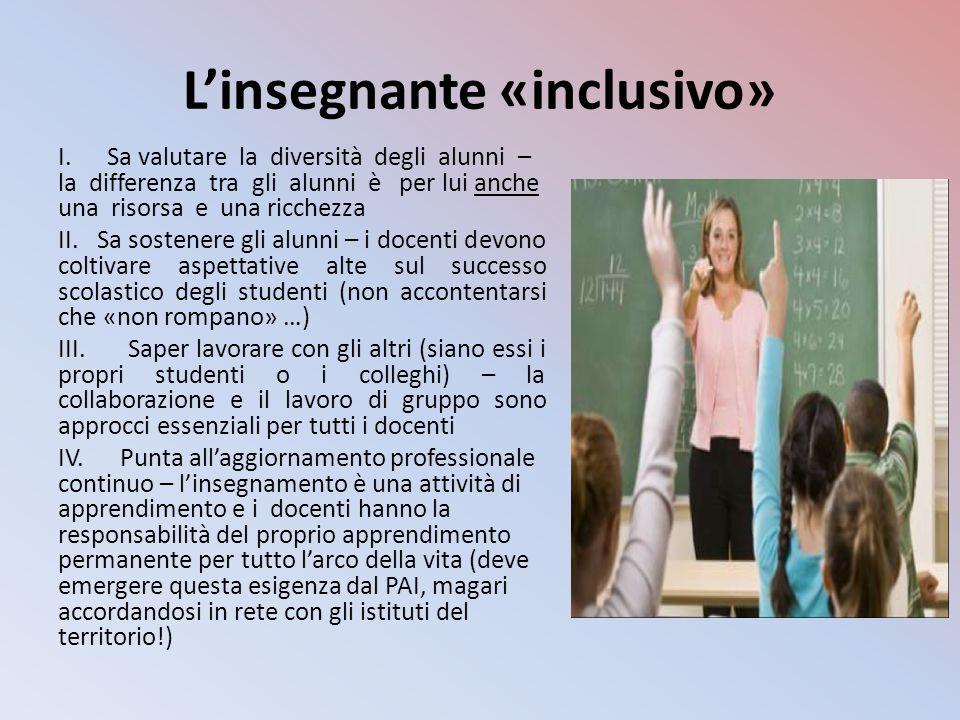 L'insegnante «inclusivo» I. Sa valutare la diversità degli alunni – la differenza tra gli alunni è per lui anche una risorsa e una ricchezza II. Sa so