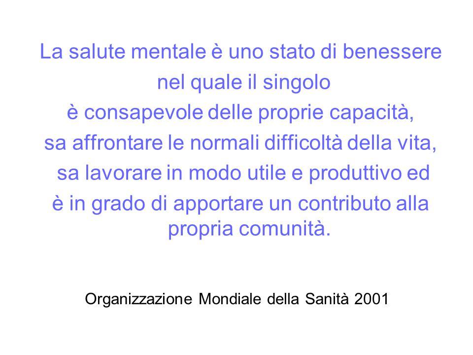 Organizzazione Mondiale della Sanità 2001 La salute mentale è uno stato di benessere nel quale il singolo è consapevole delle proprie capacità, sa affrontare le normali difficoltà della vita, sa lavorare in modo utile e produttivo ed è in grado di apportare un contributo alla propria comunità.