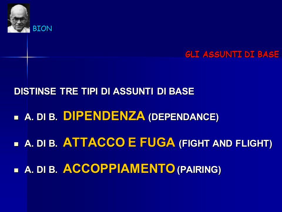 BION BION GLI ASSUNTI DI BASE DISTINSE TRE TIPI DI ASSUNTI DI BASE A. DI B. DIPENDENZA (DEPENDANCE) A. DI B. DIPENDENZA (DEPENDANCE) A. DI B. ATTACCO