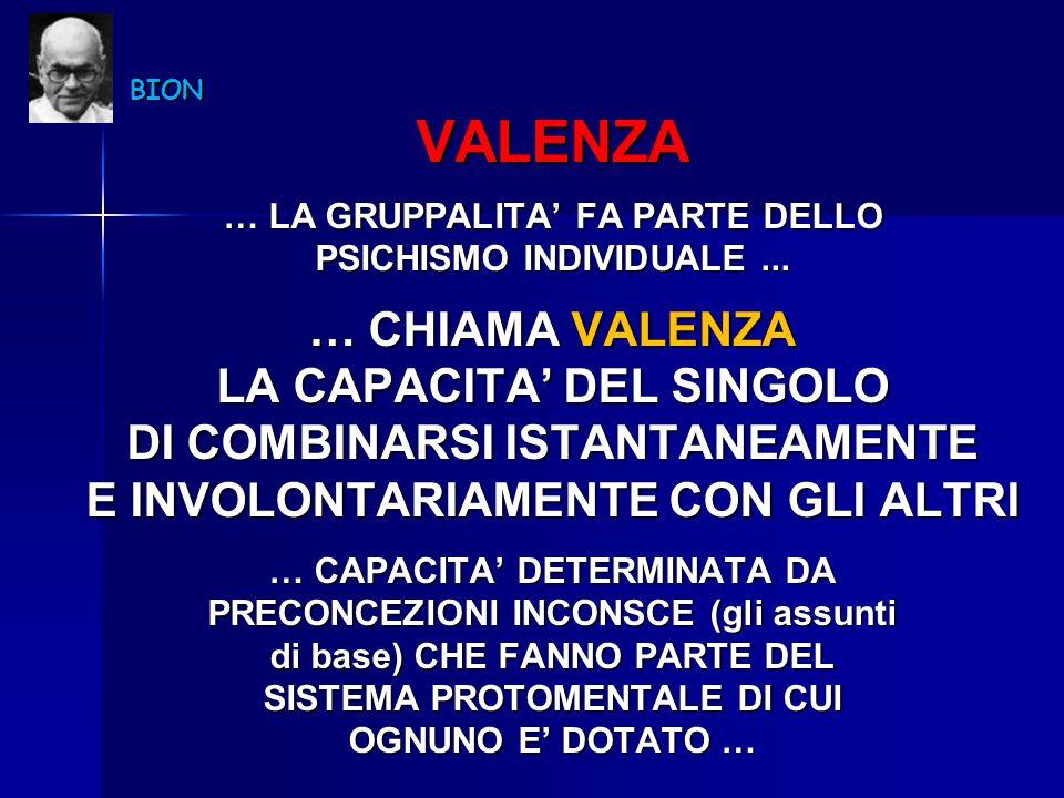 BION BIONVALENZA … LA GRUPPALITA' FA PARTE DELLO PSICHISMO INDIVIDUALE... … CHIAMA VALENZA LA CAPACITA' DEL SINGOLO DI COMBINARSI ISTANTANEAMENTE E IN