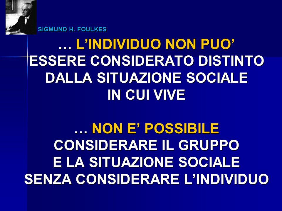 SIGMUND H. FOULKES SIGMUND H. FOULKES … L'INDIVIDUO NON PUO' ESSERE CONSIDERATO DISTINTO DALLA SITUAZIONE SOCIALE IN CUI VIVE … NON E' POSSIBILE CONSI