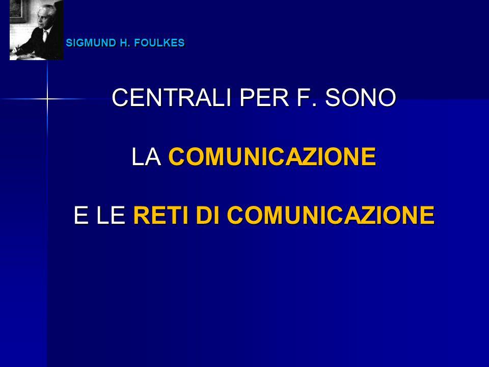 SIGMUND H. FOULKES SIGMUND H. FOULKES CENTRALI PER F. SONO LA COMUNICAZIONE E LE RETI DI COMUNICAZIONE