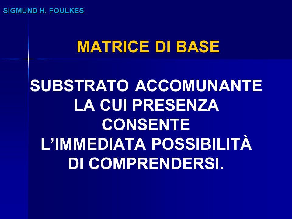 SIGMUND H. FOULKES MATRICE DI BASE SUBSTRATO ACCOMUNANTE LA CUI PRESENZA CONSENTE L'IMMEDIATA POSSIBILITÀ DI COMPRENDERSI.