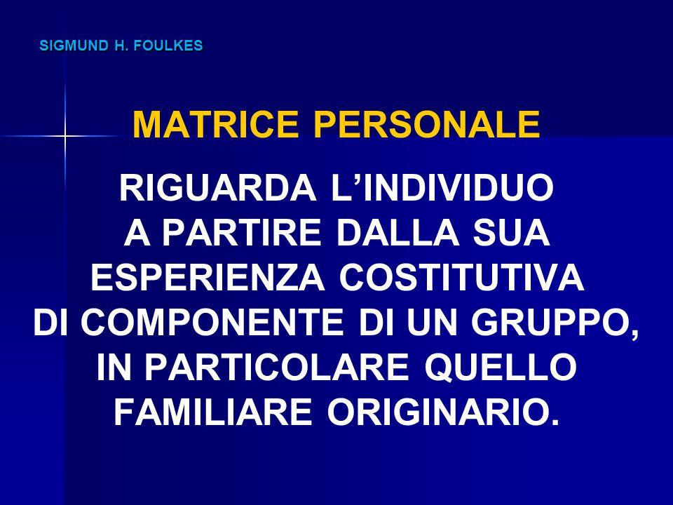 SIGMUND H. FOULKES SIGMUND H. FOULKES MATRICE PERSONALE RIGUARDA L'INDIVIDUO A PARTIRE DALLA SUA ESPERIENZA COSTITUTIVA DI COMPONENTE DI UN GRUPPO, IN