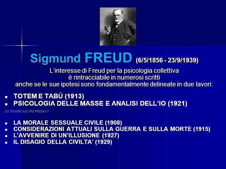 Sigmund FREUD (6/5/1856 - 23/9/1939) L'interesse di Freud per la psicologia collettiva è rintracciabile in numerosi scritti anche se le sue ipotesi so