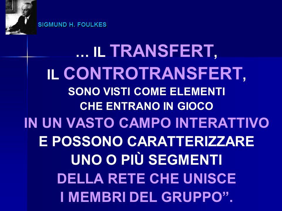 SIGMUND H. FOULKES SIGMUND H. FOULKES … IL TRANSFERT, IL CONTROTRANSFERT, SONO VISTI COME ELEMENTI CHE ENTRANO IN GIOCO IN UN VASTO CAMPO INTERATTIVO