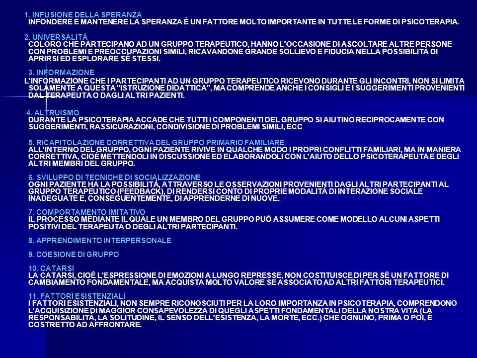 1. INFUSIONE DELLA SPERANZA INFONDERE E MANTENERE LA SPERANZA È UN FATTORE MOLTO IMPORTANTE IN TUTTE LE FORME DI PSICOTERAPIA. 2. UNIVERSALITÀ COLORO