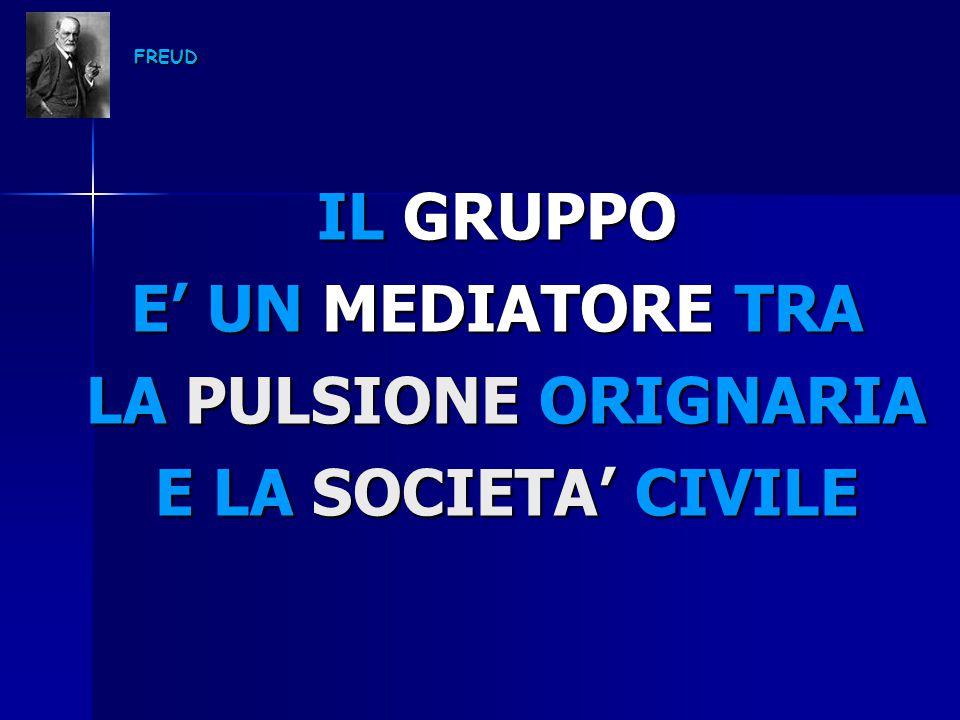 FREUD IL GRUPPO E' UN MEDIATORE TRA LA PULSIONE ORIGNARIA LA PULSIONE ORIGNARIA E LA SOCIETA' CIVILE E LA SOCIETA' CIVILE