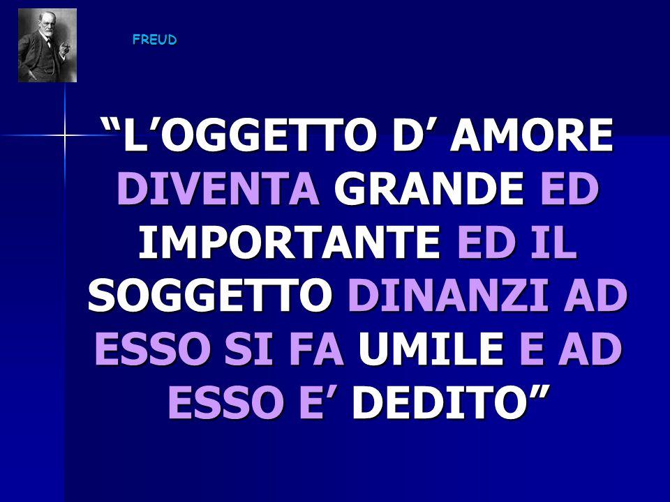 """FREUD """"L'OGGETTO D' AMORE DIVENTA GRANDE ED IMPORTANTE ED IL SOGGETTO DINANZI AD ESSO SI FA UMILE E AD ESSO E' DEDITO"""""""