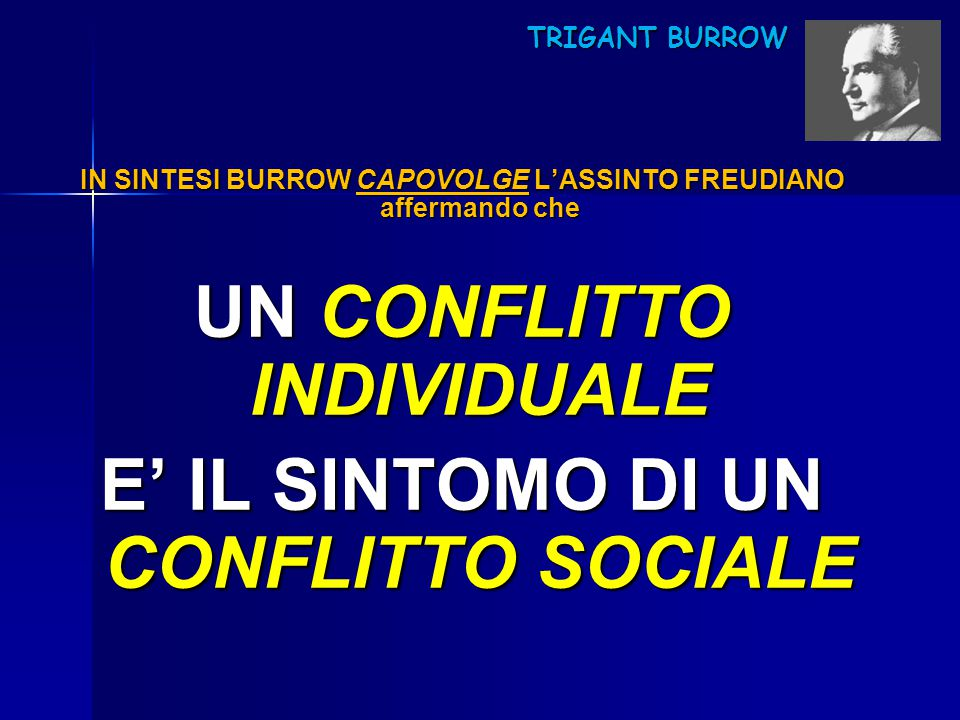 TRIGANT BURROW TRIGANT BURROW IN SINTESI BURROW CAPOVOLGE L'ASSINTO FREUDIANO affermando che UN CONFLITTO INDIVIDUALE E' IL SINTOMO DI UN CONFLITTO SO