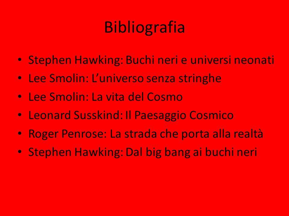 Bibliografia Stephen Hawking: Buchi neri e universi neonati Lee Smolin: L'universo senza stringhe Lee Smolin: La vita del Cosmo Leonard Susskind: Il P