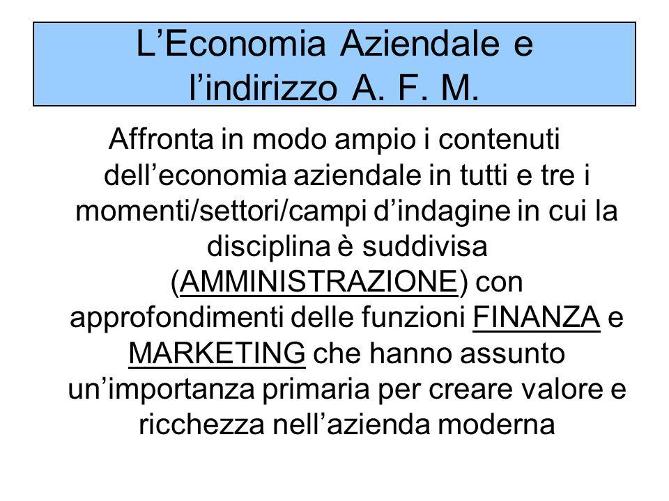 L'Economia Aziendale e l'indirizzo A. F. M. Affronta in modo ampio i contenuti dell'economia aziendale in tutti e tre i momenti/settori/campi d'indagi