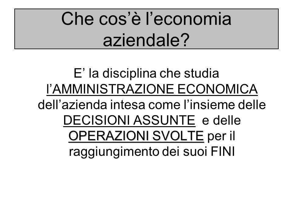 Che cos'è l'economia aziendale? OPERAZIONI SVOLTE E' la disciplina che studia l'AMMINISTRAZIONE ECONOMICA dell'azienda intesa come l'insieme delle DEC