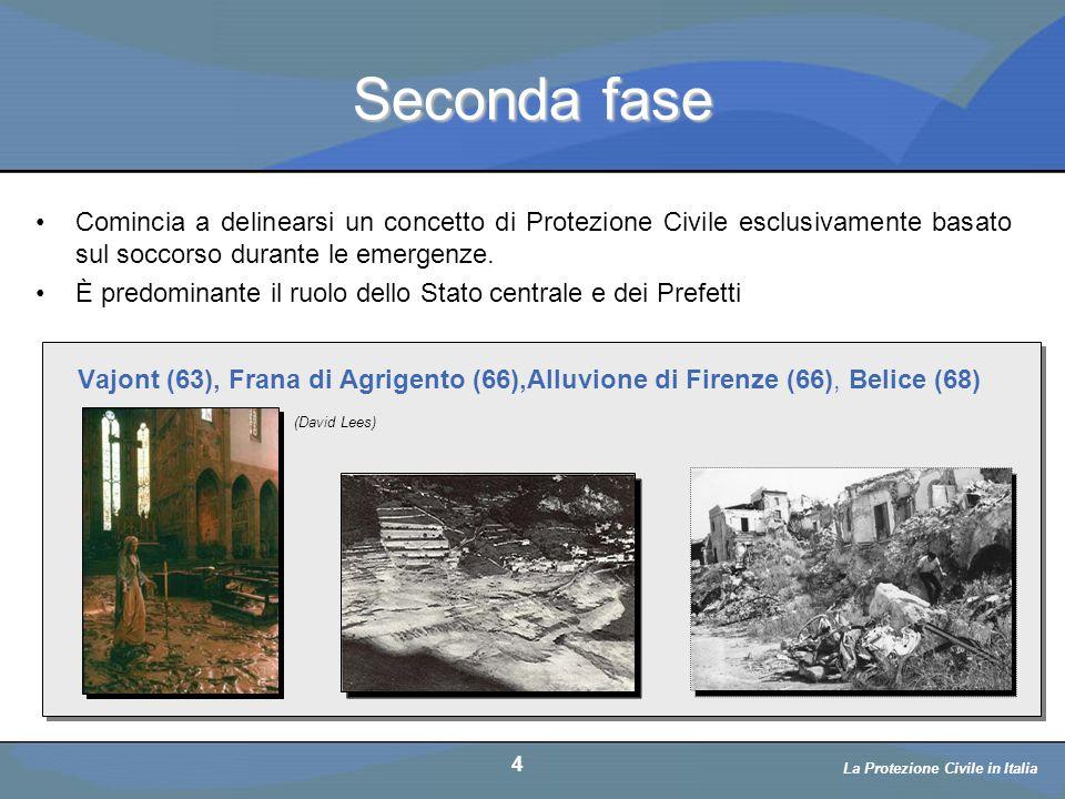 Una legge sulla PC: L.996/1970 5 La Protezione Civile in Italia Nel 1970 si ha il varo della legge che titola Norme sul soccorso e l'assistenza alle popolazioni colpite da calamità (Legge 996 del 1970).