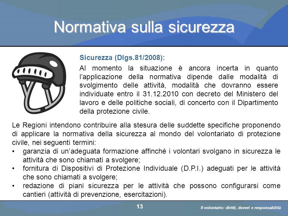 Il volontario: diritti, doveri, responsabiità a cura di D. Bellè Laboratorio e-Learning (LabeL) Università di Udine 13 Normativa sulla sicurezza Sicur