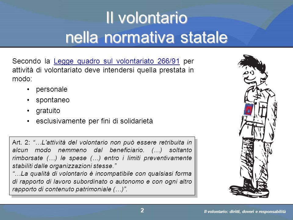 Il volontario: diritti, doveri, responsabiità a cura di D. Bellè Laboratorio e-Learning (LabeL) Università di Udine 2 Il volontario nella normativa st