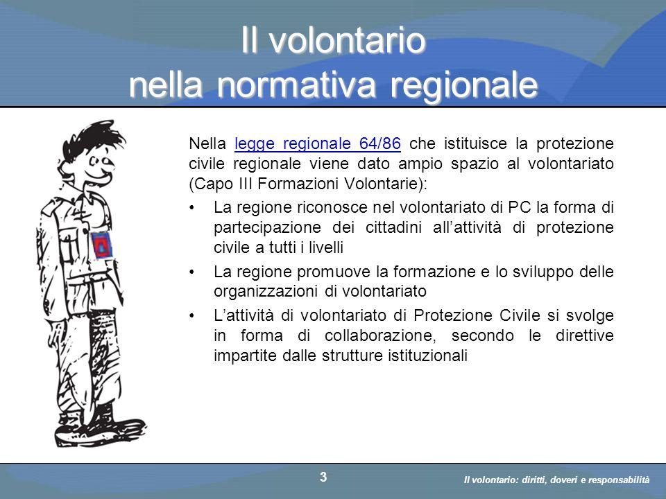 Il volontario: diritti, doveri, responsabiità a cura di D. Bellè Laboratorio e-Learning (LabeL) Università di Udine 3 Il volontario nella normativa re