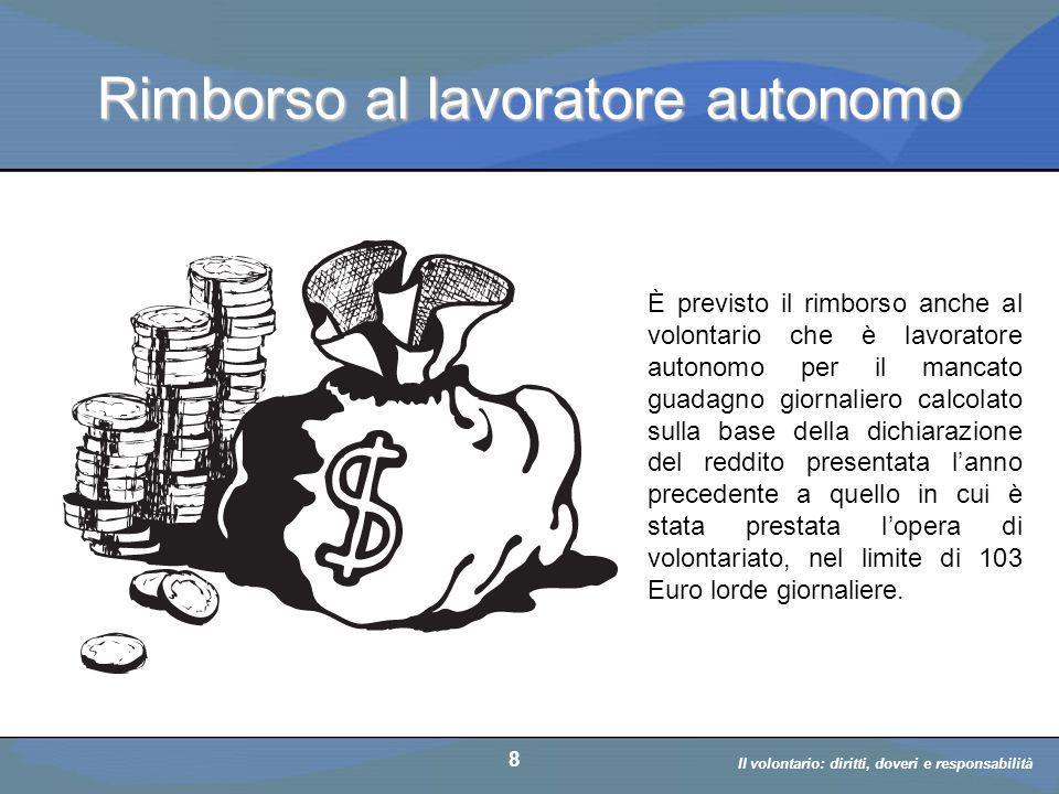 Il volontario: diritti, doveri, responsabiità a cura di D. Bellè Laboratorio e-Learning (LabeL) Università di Udine 8 Rimborso al lavoratore autonomo