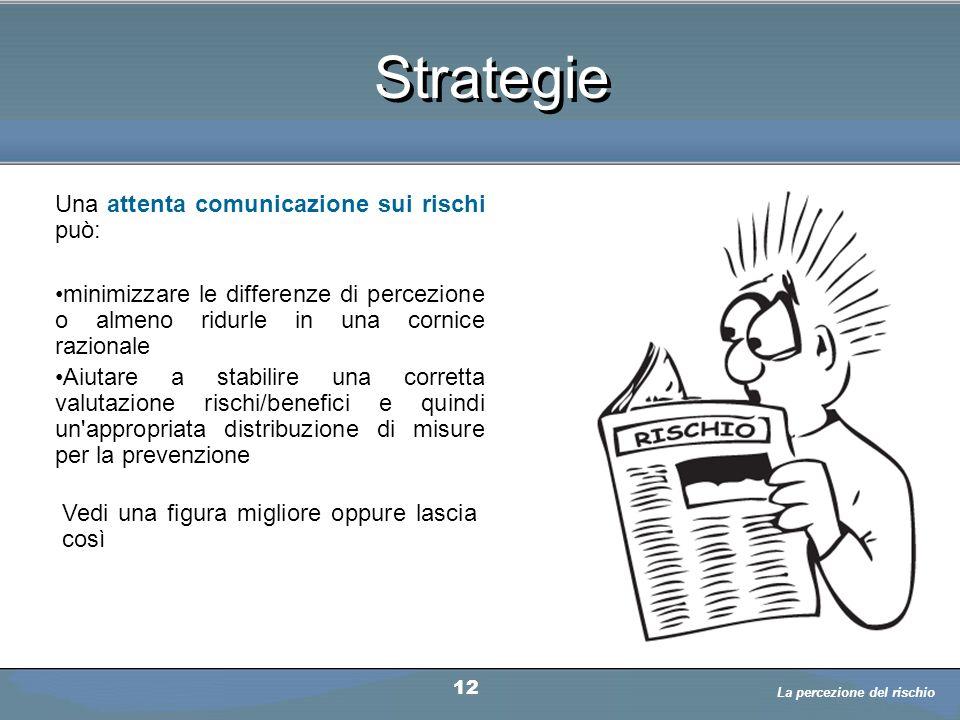 Strategie Una attenta comunicazione sui rischi può: minimizzare le differenze di percezione o almeno ridurle in una cornice razionale Aiutare a stabil