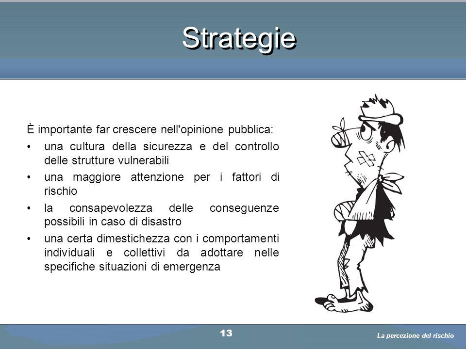 Strategie È importante far crescere nell'opinione pubblica: una cultura della sicurezza e del controllo delle strutture vulnerabili una maggiore atten