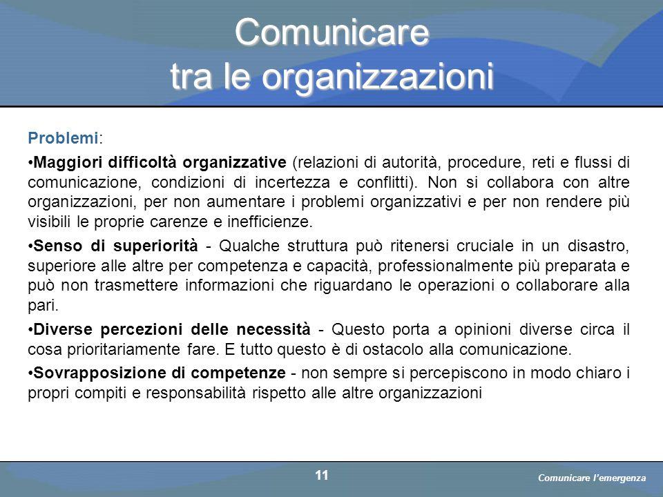 a cura di D. Bellè Laboratorio e-Learning (LabeL) Università di Udine 11 Comunicare tra le organizzazioni Problemi: Maggiori difficoltà organizzative