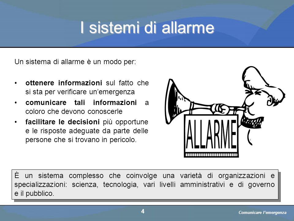 a cura di D. Bellè Laboratorio e-Learning (LabeL) Università di Udine 4 I sistemi di allarme È un sistema complesso che coinvolge una varietà di organ