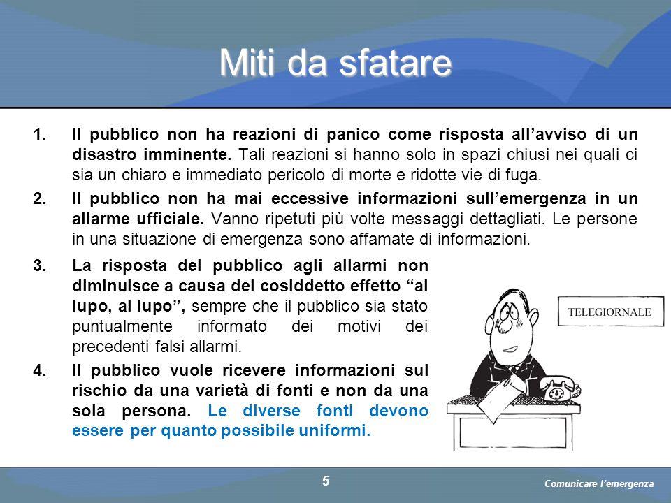 a cura di D. Bellè Laboratorio e-Learning (LabeL) Università di Udine 5 Miti da sfatare 1.Il pubblico non ha reazioni di panico come risposta all'avvi