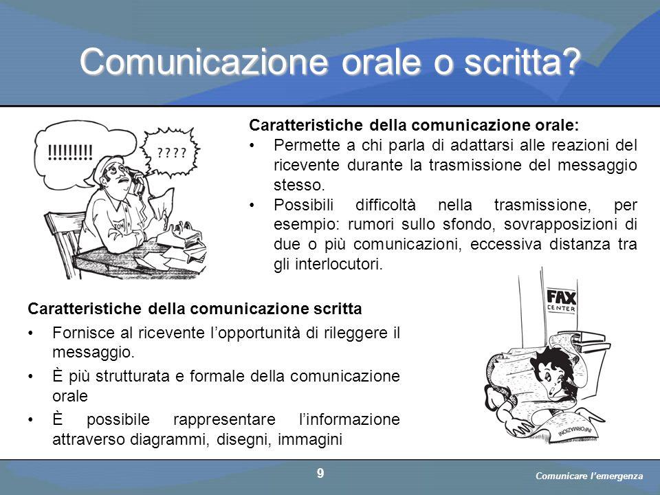 Comunicare l'emergenza a cura di D. Bellè Laboratorio e-Learning (LabeL) Università di Udine 9 Comunicazione orale o scritta? Caratteristiche della co