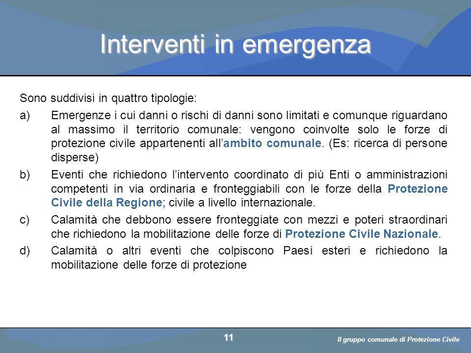 Il volontario: diritti, doveri, responsabiità a cura di D. Bellè Laboratorio e-Learning (LabeL) Università di Udine 11 Interventi in emergenza Sono su