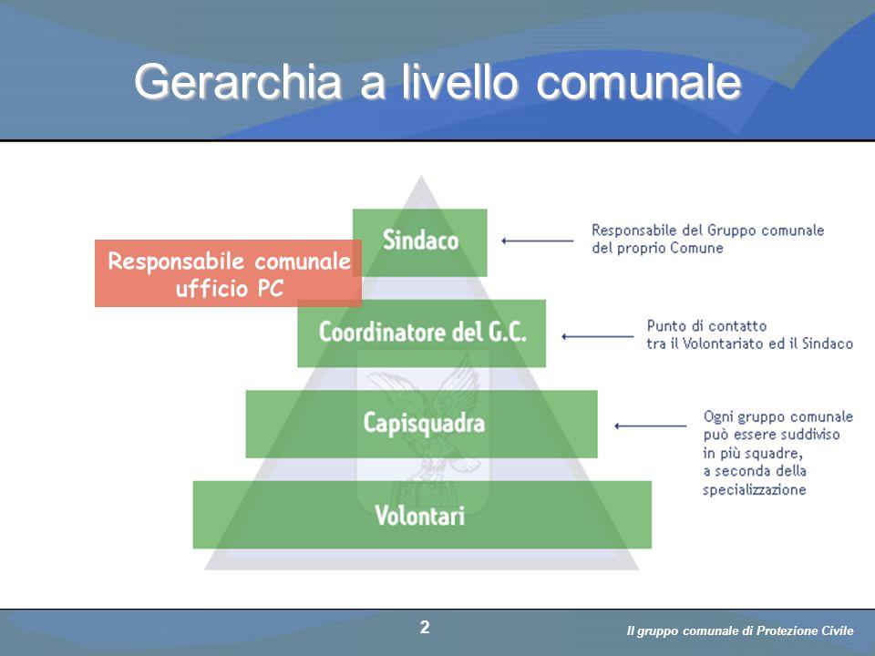 Il volontario: diritti, doveri, responsabiità a cura di D. Bellè Laboratorio e-Learning (LabeL) Università di Udine 2 Gerarchia a livello comunale 2 I