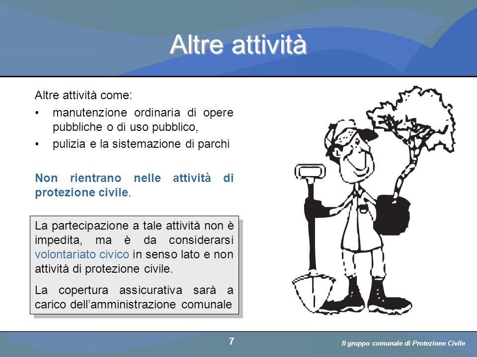 Il volontario: diritti, doveri, responsabiità a cura di D. Bellè Laboratorio e-Learning (LabeL) Università di Udine 7 Altre attività Altre attività co