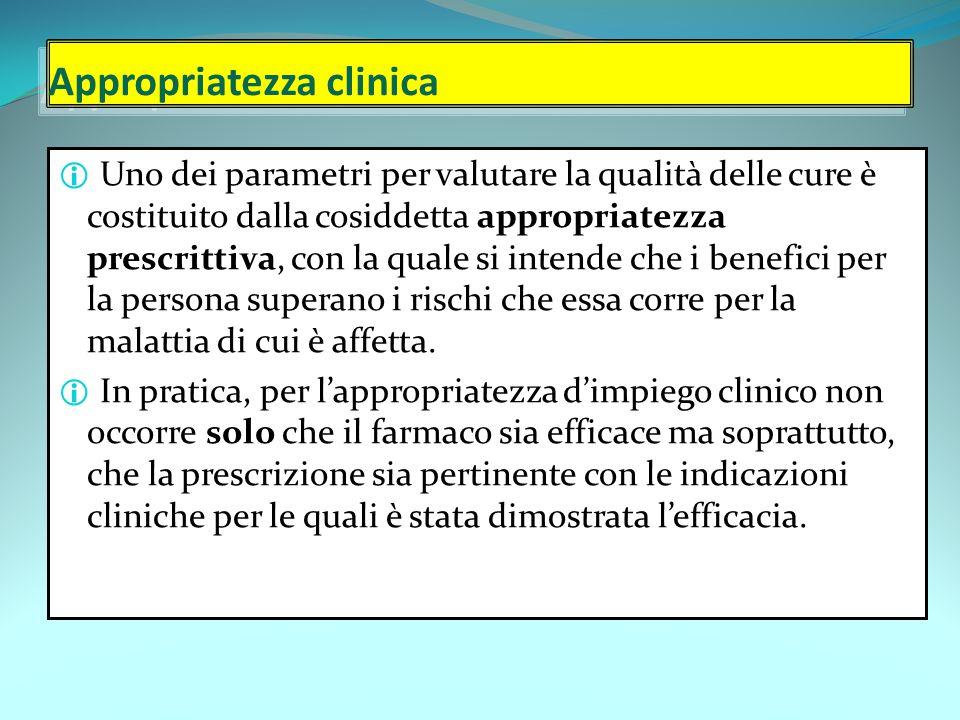 Appropriatezza clinica  Uno dei parametri per valutare la qualità delle cure è costituito dalla cosiddetta appropriatezza prescrittiva, con la quale si intende che i benefici per la persona superano i rischi che essa corre per la malattia di cui è affetta.
