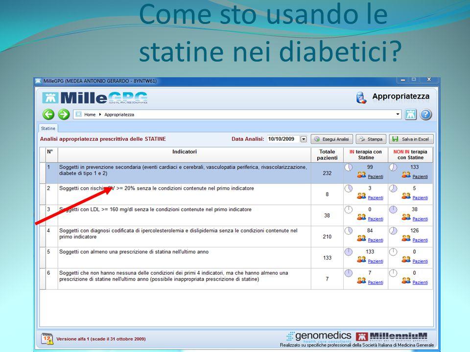 Come sto usando le statine nei diabetici?