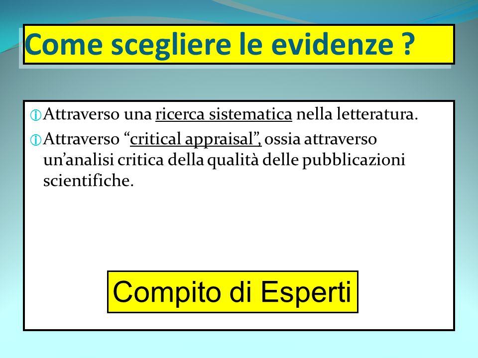 """Come scegliere le evidenze ?  Attraverso una ricerca sistematica nella letteratura.  Attraverso """"critical appraisal"""", ossia attraverso un'analisi cr"""