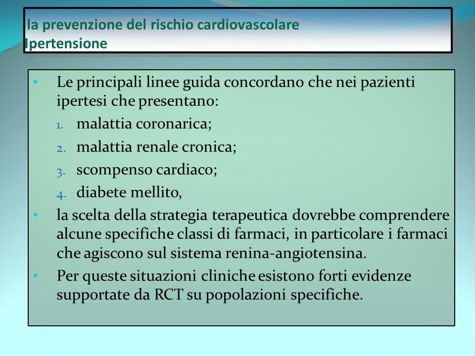 la prevenzione del rischio cardiovascolare Ipertensione Le principali linee guida concordano che nei pazienti ipertesi che presentano: 1. malattia cor