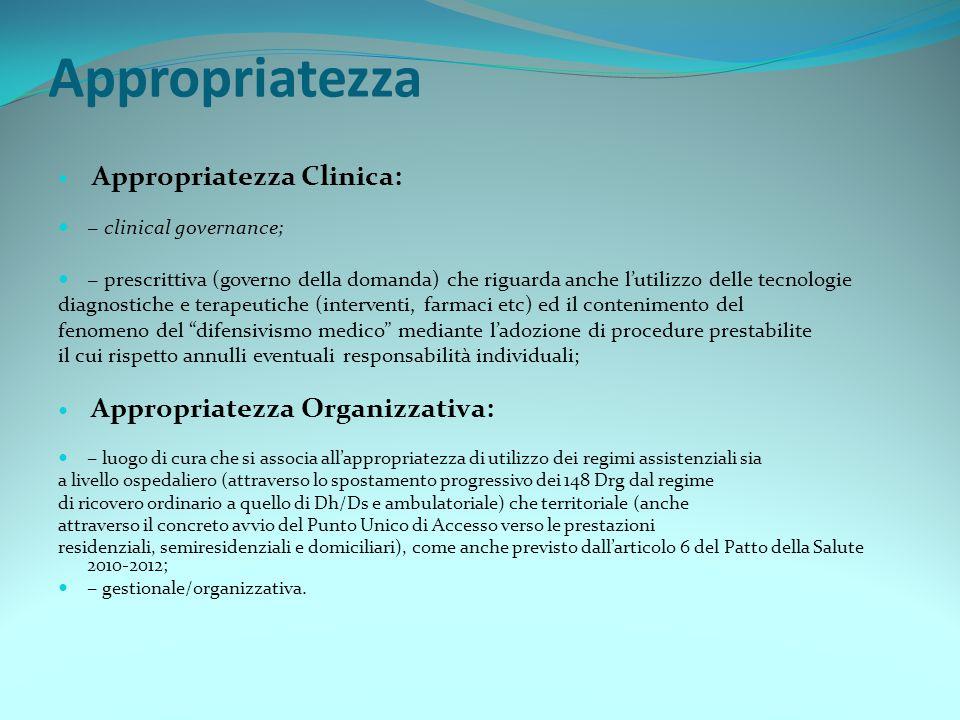 Appropriatezza Appropriatezza Clinica: − clinical governance; − prescrittiva (governo della domanda) che riguarda anche l'utilizzo delle tecnologie di