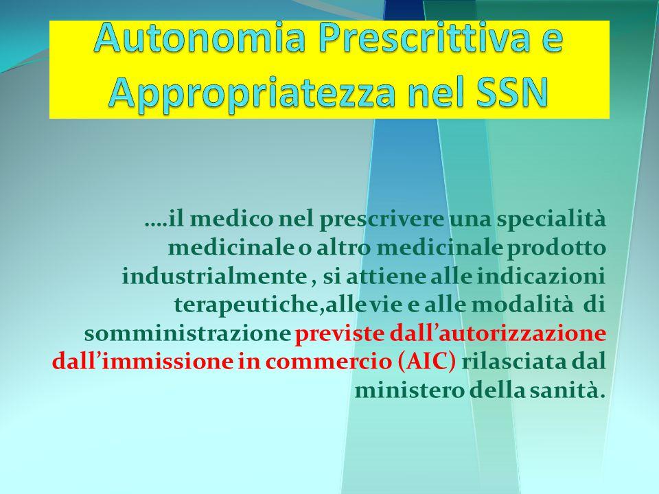 ….il medico nel prescrivere una specialità medicinale o altro medicinale prodotto industrialmente, si attiene alle indicazioni terapeutiche,alle vie e