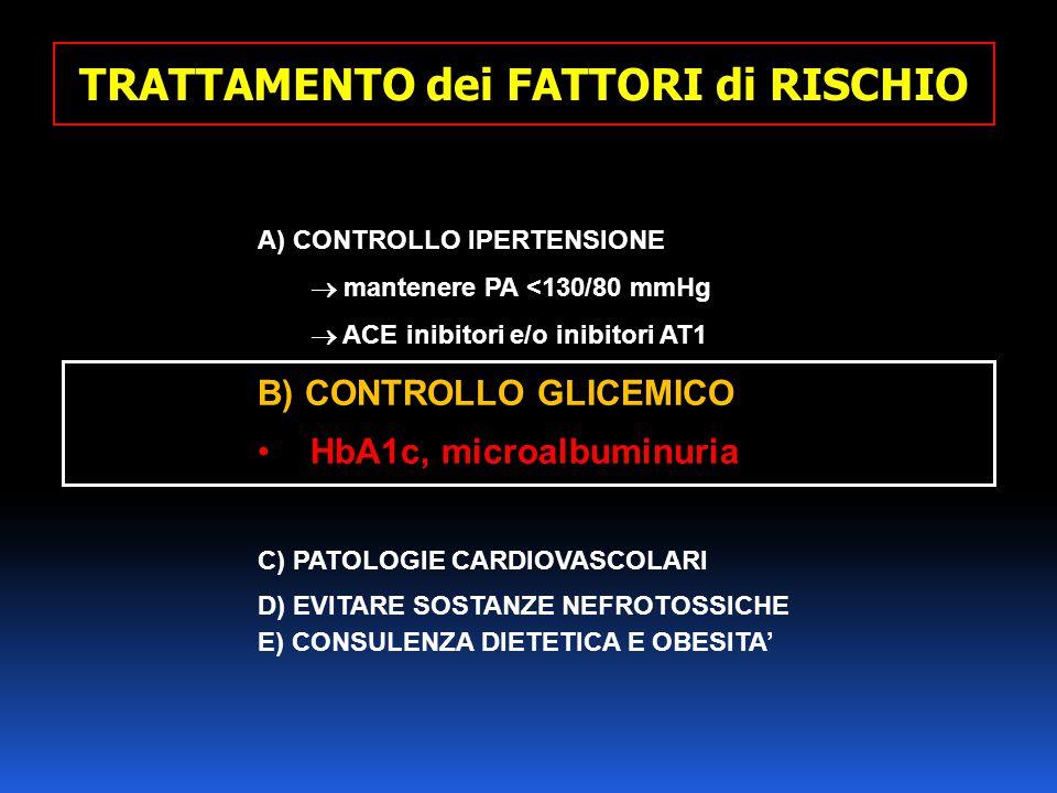 A) CONTROLLO IPERTENSIONE  mantenere PA <130/80 mmHg  ACE inibitori e/o inibitori AT1 B) CONTROLLO GLICEMICO HbA1c, microalbuminuria C) PATOLOGIE CA