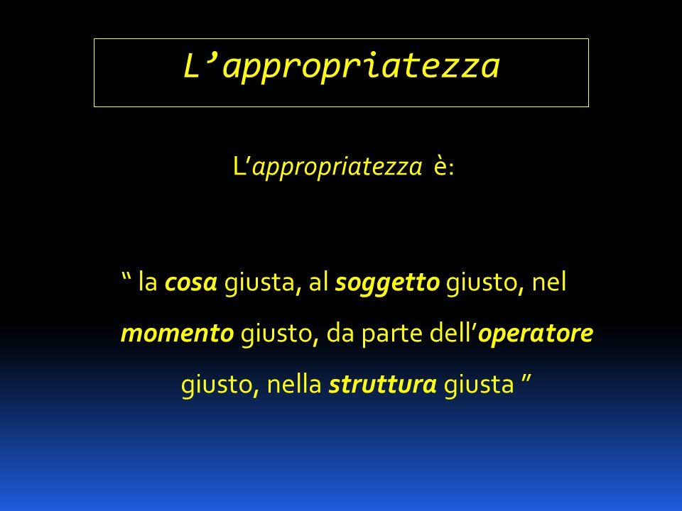 """L'appropriatezza L'appropriatezza è: """" la cosa giusta, al soggetto giusto, nel momento giusto, da parte dell'operatore giusto, nella struttura giusta"""