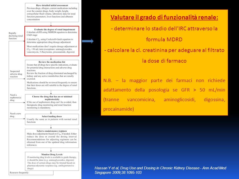 Valutare il grado di funzionalità renale: - determinare lo stadio dell'IRC attraverso la formula MDRD - calcolare la cl. creatinina per adeguare al fi