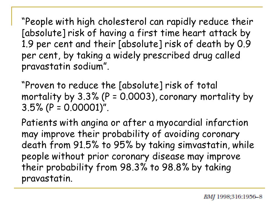 People with high cholesterol can rapidly reduce their [absolute] risk of having a first time heart attack by 1.9 per cent and their [absolute] risk of death by 0.9 per cent, by taking a widely prescribed drug called pravastatin sodium .